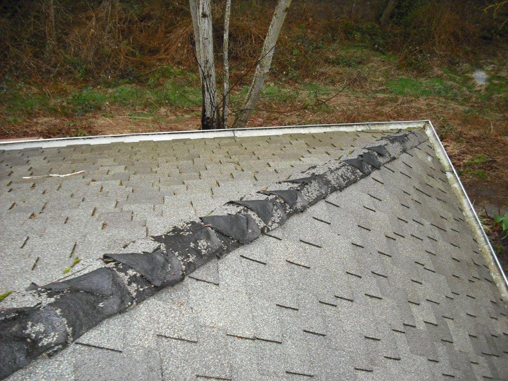 Damaged roof ridgecaps